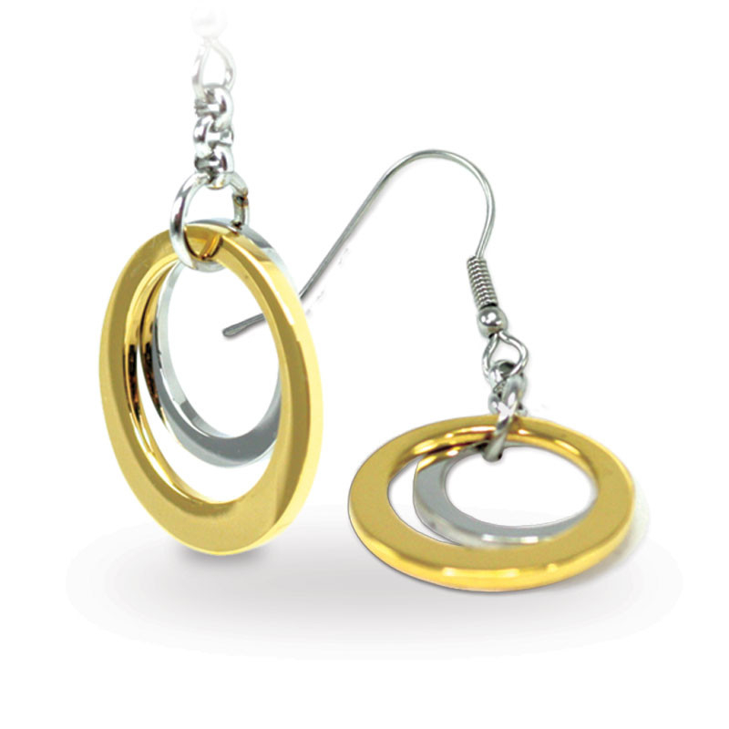 Two Tone Hoop Earrings (SS)