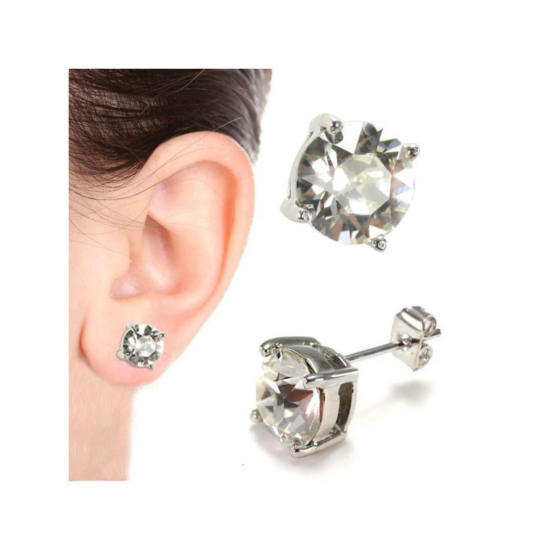Solitaire Stud Earring 8mm...