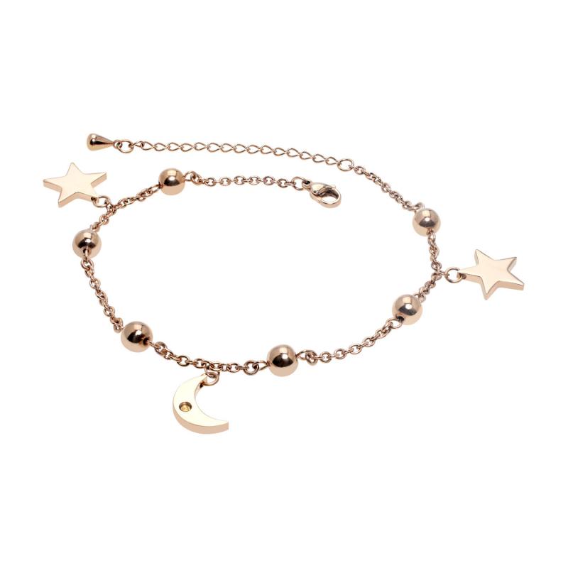 Moon & Star Anklet-Rose...