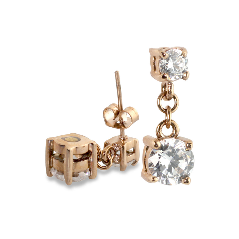 2 CZ Rose Gold Earrings (SS)